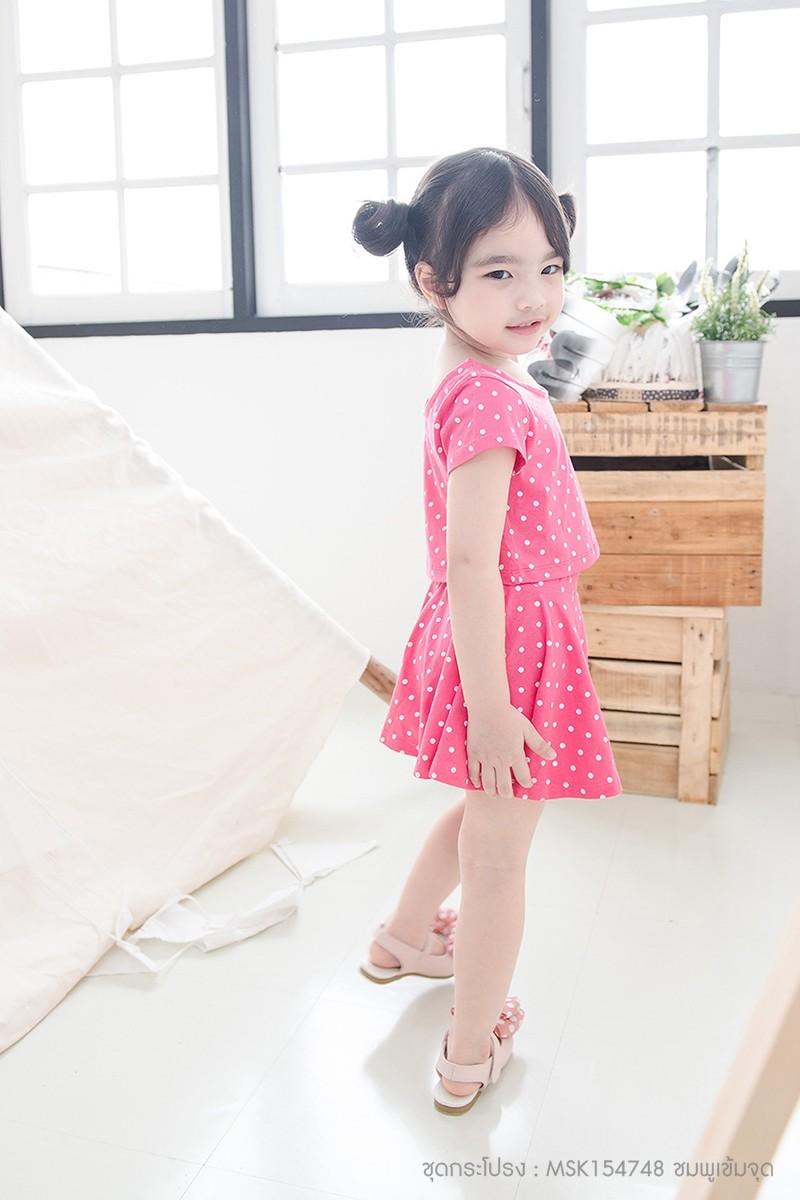 ชุดกระโปรงเด็กผู้หญิง สีชมพูเข้ม ลายจุดขาว