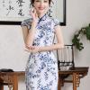 [พร้อมส่ง] ชุดกี่เพ้า ชุดจีน สีกรม ลายดอก แขนสั้น