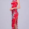 [พร้อมส่ง] ชุดกี่เพ้ายาว ชุดจีนสีแดง แขนกุด ลายนกยูง+ลายดอกไม้