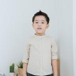 เสื้อเชิ้ตแขนยาว เด็กชาย สีครีม