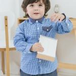 เสื้อเชิ้ตแขนยาว เด็กชาย สก็อตสีน้ำเงิน