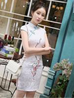 [พร้อมส่ง] ชุดกี่เพ้าสั้น ชุดจีน สีขาว ลายดอก แขนสั้น