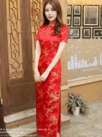 [พร้อมส่ง] ชุดกี่เพ้ายาว ชุดจีนสีแดง แขนสั้น ลายดอกสีทอง