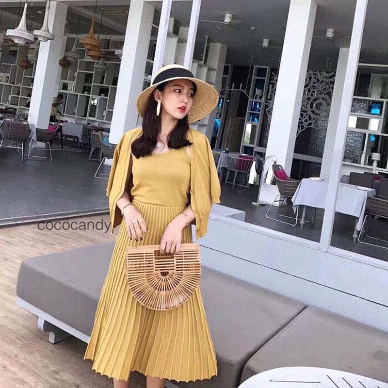 ชุดเช็ตไหมพรมแฟชั่น Set : Spaghetti Knit Dress wt Cardigan