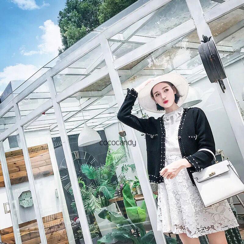 เสื้อคลุมไหมพรมแฟชั่น Korea Luxe Pearl Cardigan