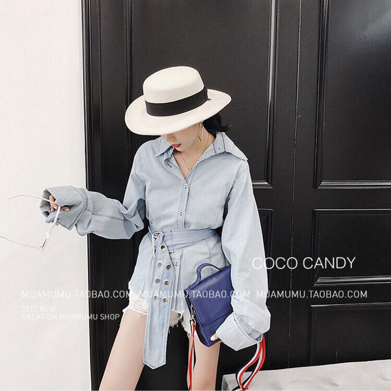 เสื้อยีนส์แฟชั่น Korea washed denim shirt wt belt