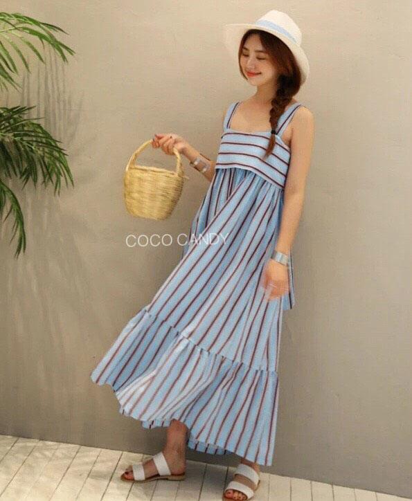 ชุดเดรส Bow Back Stripe Maxi Dress สีฟ้า