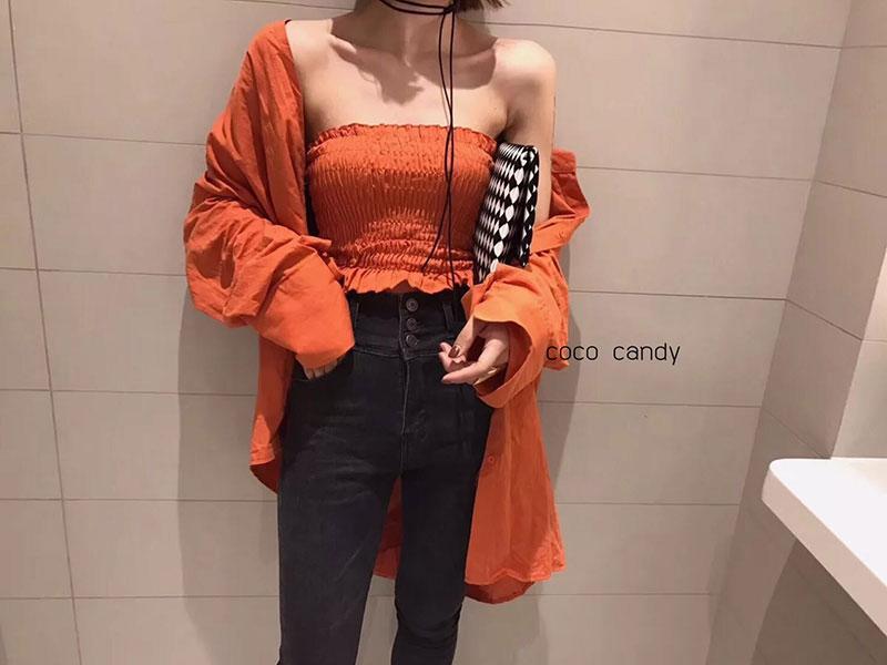 เสื้อเชิ้ตแฟชั่น Set: Oversize Shirt wt Tube Top