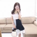 กระโปรงแฟชั่น Korea Ruffle Blue Layered Midi-Skirt