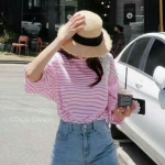 เสื้อแฟชั่น Korea BalloonSleeves Oversize Stripe Top