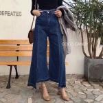 กางเกงยีนส์แฟชั่น Wide led Cut Hem Dark Jeans