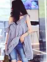 ชุดเดรสสายเดี่ยว Lady Stripe Dress
