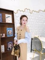 ชุดเดรสแฟชั่น Castella Open-Shoulder Dress