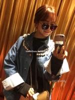 เสื้อแจ็คเก๊ตยีนส์แฟชั่น Embroidery Pearl Neck Denim Jacket