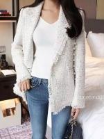 เสื้อคลุมไหมพรมแฟชั่น Korea Tweed Pearl Blazer สีขาว