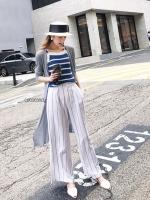กางเกงแฟชั่น Linen Striped Wide-leg Pants สีขาว