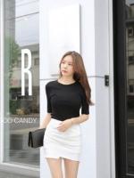 กระโปรงแฟชั่น Korea Insets Shorts Skirt สีดำ