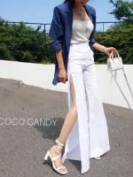 กางเกงแฟชั่น Korea Slit-hem Pants สีขาว