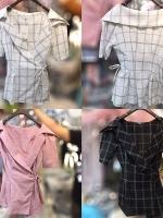 เสื้อแฟชั่น Korea Collar Checked Top สีชมพู