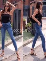 กางเกงยีนส์แฟชั่น Cutout Skinny Jeans