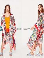 เสื้อคลุมแฟชั่น Flower Printed Kimono