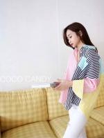 R e s t o c k เสื้อเชิ้ตแฟชั่น Candy Pastel Stripe Oversize Shirt