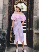ชุดเดรสแฟชั่น Candy Stripe Off-Shoulder Lace Dress