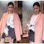 เสื้อแฟชั่นเกาหลี Elena Lace Pleats Top